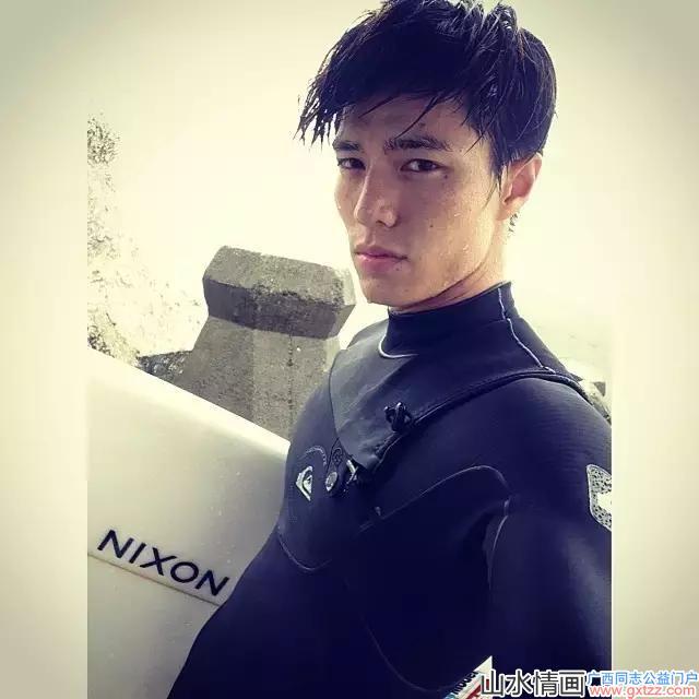 型男帅哥滑翔冲浪